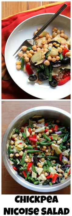 The flavors of the Mediterranean come together in this chickpea nicoise salad – a vegetarian take on the French classic!
