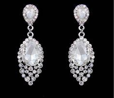 "PAIR Rhinestone Tear Drop Bridal Crystal Wedding Prom gauges plugs tunnels earrings 2g 0g 00g 7/16"" 1/2"" 6mm 8mm 10mm 11mm 12mm"