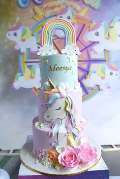 Baby Girl Birthday Cake, Unicorn Themed Birthday Party, Cute Birthday Cakes, Rainbow Birthday Party, 4th Birthday, Unicorn Rainbow Cake, Unicorn Themed Cake, Diy Unicorn Birthday Party, Fondant Rainbow