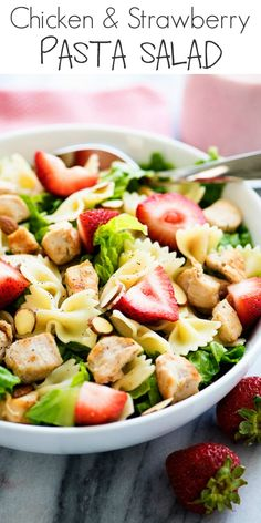 Chicken Strawberry Pasta Salad - Life In The Lofthouse Meat Salad, Goat Cheese Salad, Soup And Salad, Pasta Salad, Pasta Recipes, Salad Recipes, Chicken Recipes, Healthy Recipes, Potato Pasta