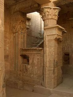 ♔ Ptolemaic temple ~ with papyrus capitals ~ Egypt
