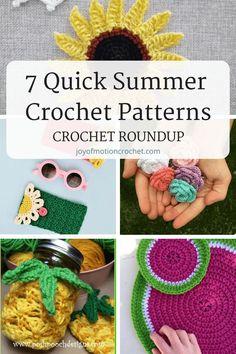 7 Quick Summer Crochet Patterns – Crochet Roundup A roundup of 7 quick summer crochet patterns. Amazing summer crochet ideas that can be made quickly. Crochet project ideas for summer. Quick Crochet, Crochet Round, Learn To Crochet, Double Crochet, Single Crochet, Free Crochet, Beach Crochet, Crochet Mermaid, Modern Crochet Patterns