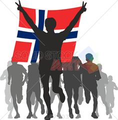 Black and grey runners silhouettes winner holding norway flag vector on white vertical