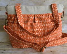 ECO Freindly Market Tote BAg  / Khaki / Orange / rustic vintage style Linen & Cotton / Bohemian Artisan slouch  / Padded / by Darby Mack