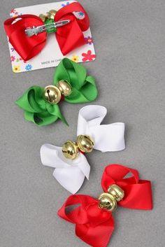 Hair Bow For Junior Xmas 2 Jingle Bells W Grosgrain Bows