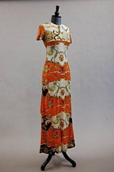 The Duchess of Windsor's Pucci-esque dress, late of silk jersey, printed in orange with swirling designs, bust 31 Provenance: Ex lot 2409 in the Sotheby's New York Duke and Duchess of Windsor sale, Wallis Simpson, Royal Crowns, King David, Italian Fashion Designers, Next Clothes, Swirl Design, Royal Fashion, Duke And Duchess, Windsor