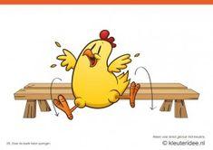 Bewegingskaarten kip voor kleuters 20, Over de bank heen springen , kleuteridee.nl , thema Lente, Movementcards for preschool, free printab...