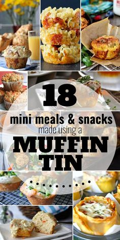 Move over, muffins and cupcakes! Your muffin tin can make more than sweet treats – they are perfect for making single-serving meals and snacks. From loaded bacon and egg hash brown muffins to lasagna cups, pizza mac 'n cheese muffins, and more.  Click through for 18 MINI MEALS & SNACK MADE USING A MUFFIN TIN.