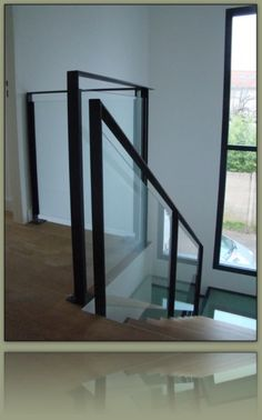 On the site of Autrement Métal, a metalworker near Lyon, you will discover . Glass Stairs, Glass Railing, Glass Roof, Balcony Railing, Balustrades, Glass Balustrade, Interior Stairs, Interior Exterior, Black Stair Railing