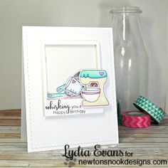Whisking Baking Shaker Birthday Card by Lydia Evans Birthday Wishes, Birthday Cards, Image Stamp, Nook, I Card, Whimsical, Greeting Cards, Paper Crafts, Frame
