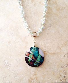 Gorgeous Dichroic Pendant in  Rust and Green by 3DGlassDesigns