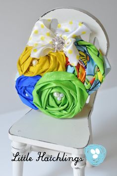 yellow blue green flower headband hair clip by LittleHatchlings, $18.50