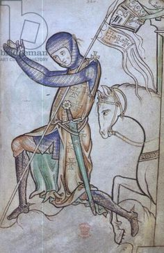 Roy 2 A XXII f.220 Kneeling crusader with his horse behind him, from the Westminster Psalter, c.1250 (vellum)