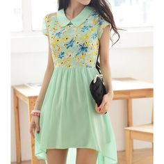 Floral Print Casual Peter Pan Collar Asymmetric Short Sleeve Chiffon Dress For Women