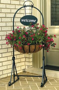 Welcome Sign Hanging Basket Planter.... perfect for a front porch or entry way