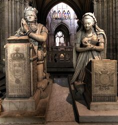 Memorial to Louis XVI & Marie Antoinette ~ by E. Gaulle & P. Petitot - St Denis Basilica, burial place of nearly every French king from 10th-18th c. During the Revolution, bodies were removed, dumped in large pits & dissolved with lime (Marie & Louis had been buried at La Madeleine). In 1815 meager remains of Louis & Marie (reputedly) were returned. In 1817 the mass graves were opened & co-mingled remains placed in an ossuary in St. Denis - marble plates list the 100s of names. [1st of 2…