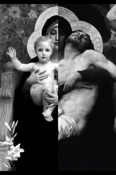 "They are two paintings fused in one of the Painter ""William-Adolphe Bouguereau"". The one of Christ of Child is called ""The Vierge au Lys (The Virgin of the Lilies)"" The one of Christ died on the cross is called ""Pieta"" Catholic Memes, Catholic Art, Religious Art, Blessed Mother Mary, Blessed Virgin Mary, Immaculée Conception, La Pieta, William Adolphe Bouguereau, Queen Of Heaven"