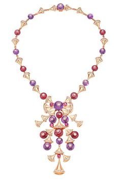 Amethyst, rubellite, diamond and yellow gold necklace from the Bulgari Bvlgari Diva collection