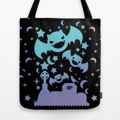 Creepy Cute Fairy Kei Pastel Goth Bats, Stars, and Crescent Moons Tote Bag