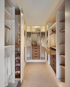 Love mix of white and wood for Ryan's closet. Like the different sections for clothes and shoes.