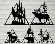 Wildlife scene SVG DXF Animals cut file for laser dxf for Wood Burning Stencils, Stencils For Wood Signs, Wood Burning Crafts, Wood Burning Patterns, Stencil Wood, Bear Stencil, Animal Stencil, Stencil Painting, Painting On Wood