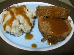 Happy Herbivore's Mock Meatloaf is made with Gimme Lean Beef. Served with mashed potatoes, it makes the perfect #vegetarian comfort food.