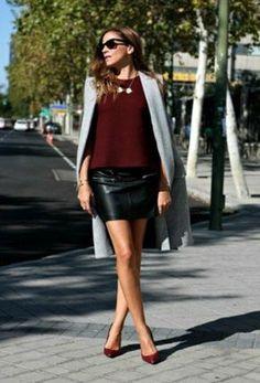 jupe cuir femme pull bordeaux
