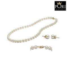 Pori Italian 14kt Solid Gold Cultured Freshwater Pearl Necklace & Stud Earrings at 88% Savings off Retail!