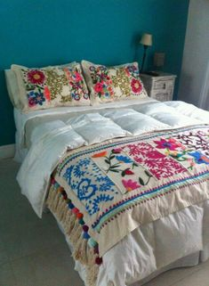 Beautiful embroidered cushions and throws, long term project for 13 Emerald Street. Mexican Embroidery, Hand Embroidery, Embroidery Ideas, Bed Spreads, Bed Sheets, Bedroom Decor, Modern Bedroom, Cushions, Blanket