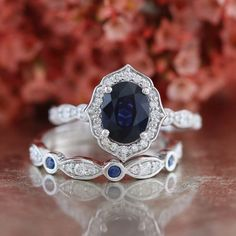Vintage Floral Sapphire Engagement Ring and Bezel by LaMoreDesign