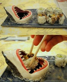 Shark Sushi Plate!!! I Annie Bea made this!!! I should post a pic up, it's not nearly as good as this but still