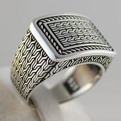 5263f734fc0c Details about Luxury 925 Sterling SILVER Special Turkish Handmade Men Ring.  Diseños De Anillo De PlataAnillos ...