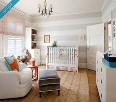 Striped Walls in an Aqua and Orange nursery (Creative Baby Nursery Rooms via babble) My favorite baby room. Striped Nursery, Orange Nursery, Grey Nursery Boy, Striped Walls, Nursery Neutral, Nursery Room, Boy Room, Kids Bedroom, Nursery Decor