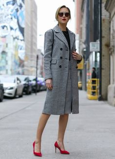plaid office coat with red pumps