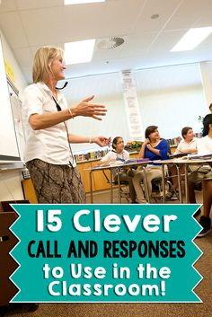 15 Clever Call and Responses to Use in the Classroom! - Wise Guys: Remember teachers banging on desks to get students' attentions? Here's 15 clever call and responses to get your students' attention in a good way! Teacher Hacks, Teacher Tools, Teacher Resources, Teacher Quotes, Classroom Behavior Management, Behaviour Management, Classroom Discipline, Teaching Strategies, Teaching Tips