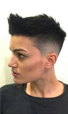 spiked and short hair cut, with shaved sides. most common indicator for others to preconceive a woman is butch