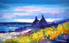 Landscape Paintings, Landscapes, Isle Of Iona, Round Tower, Spring Shower, Red Roof, Palette Knife Painting, Autumn Garden, Flower Boxes