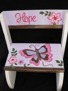 Cute!-personalized chair flip step stool to by andrewandelladesigns, $49.50