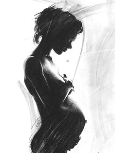 PREGNANT ART gift for pregnant woman figure art by SignedSweet
