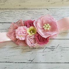 2 Handmade Flowers Chiffon Flowers inches) Ready To Ship - Salvabrani Chiffon Flowers, Fabric Flowers, Toddler Activity Board, Flower Belt, Maternity Sash, Light Pink Color, Diy Hair Bows, Color Rosa, Green Flowers