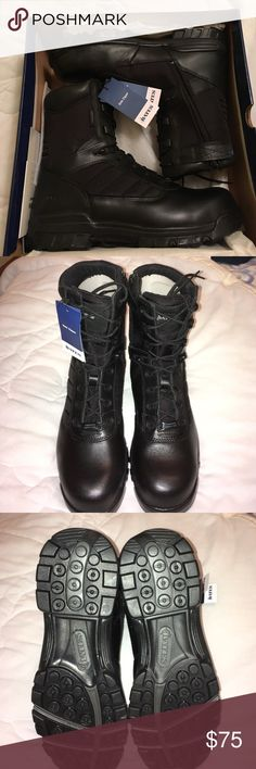 NIB black composite toe safety boot. Bates tactical sport 8 inch side zip composite toe boot. Men's 11.5. Brand new in box, original packaging, never worn. Perfect for police officers, corrections, Fire, EMS, security, construction workers. Bates Shoes Boots