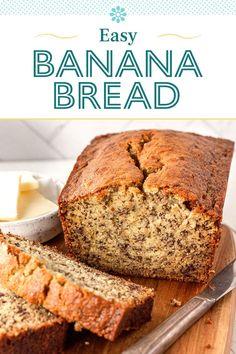 Easy Bread Recipes, Banana Bread Recipes, Banana Bread Recipe With 3 Bananas, Easy Banana Cake Recipe, Recipes With Bananas, Easy Desserts, Delicious Desserts, Dessert Recipes, Gastronomia