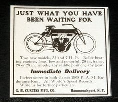 1908 Old Magazine Print Ad, Curtiss Motorcycle, Just What You Have Waited For! Plymouth Cars, Old Magazines, Old Ads, Print Magazine, New Model, Print Ads, Motorcycles, Holidays, Marketing