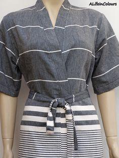 Women's black colour Turkish soft cotton light weight kimono bathrobe, bridesmaid robe, dressing gown, bridal robe, spa robe, cover up. by ALIFEINCOLOURS on Etsy