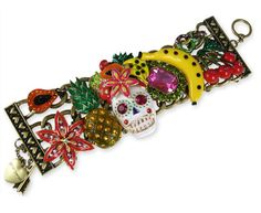 Betsey Johnson Rio Sugar Skull Wide Toggle Bracelet