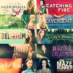 Warm Bodies The Hunger Games Percy Jackson Divergent Delirium The Mortal Instruments Vampire Academy Beautiful Creatures The Host The Maze Runner