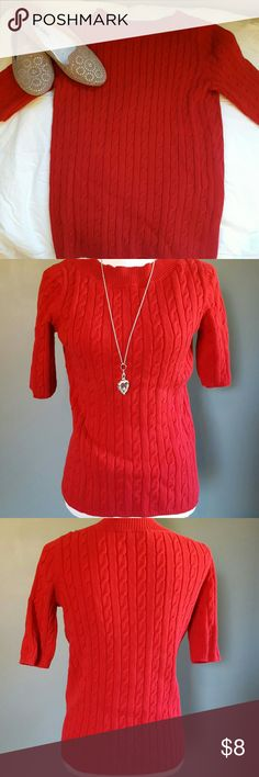 Talbots Short Sleeve Cable Knit Sweater Red Talbots short sleeve cable knit sweater. Size small. 100% Cotton. Talbots Sweaters Crew & Scoop Necks