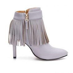 Grey Fringed Pointed Heeled Ankle Boots - US$55.95 -YOINS