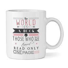 Le Monde est un livre Citation Tasse Mug 30cl-Funny lecture fantaisie Thé Café: Céramique blanche tasse 30cl. Le motif est imprimé sur les…