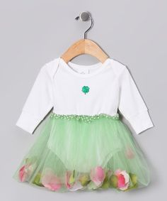 Take a look at this White & Green Flower Petal Tutu Bodysuit - Infant by So Girly & Twirly on #zulily today!